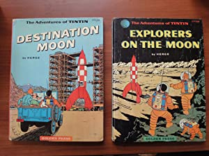 The Adventures of Tintin - Set of 2 Books: Destination Moon, and Explorers on the Moon - 1st and ...