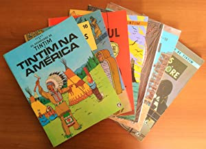 Set of 7 Tintin Foreign Language Books in Portuguese from Brazil: Tintin in America, Cigars of th...