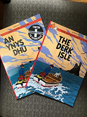 Unique Set of 2 editions of The Adventures of TINTIN - The Black Island in 2 different languages ...