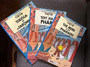 Unique Set of 3 books from The Adventures of TINTIN - The Cigars of the Pharaoh in 3 different la...