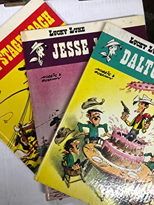 Lucky Luke Series- Set of 3 Hardcover Graphic Novels: The Stage Coach, Jesse James, Dalton City