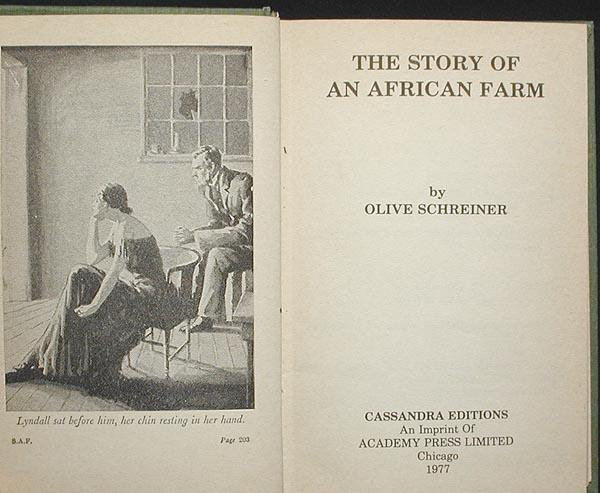 The Story of an African Farm by Schreiner, Olive: Near Fine Hard ...