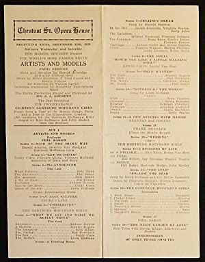 Artists and Models: Paris Edition [Chestnut St. Opera House playbill 1926 -- Sid Silvers' Broadwa...