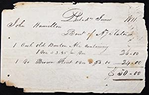 Handwritten Receipt for the purchase of Ale and Stout from Anthony Slater by John Hamilton, Phila...