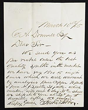 1865 Business Letter from Foster & Roby, Brass Founders, Boston