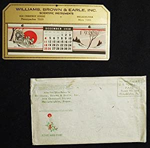 1939 Advertising Calendar for Williams, Brown & Earle, Scientific Instruments, Philadelphia