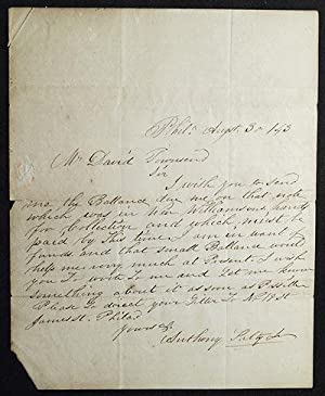 Letter from Anthony Kelly, Jr., Philadelphia, to David Townsend, cashier of the Chester County Ba...