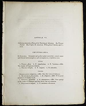 Collections towards a Flora of the Territory of Arkansas by Thomas Nuttall [Transactions of the A...