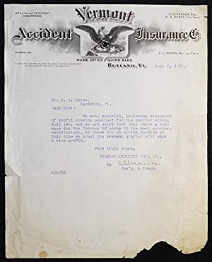 Letter to M.G. Morse on Vermont Accident Insurance Co. letterhead