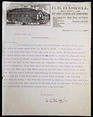 Typed letter to Melvin Morse of Hardwick, Vt., signed by C.E. Haskell on his business letterhead
