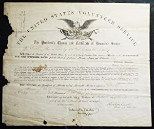 United States Volunteer Service: The President's Thanks and Certificate of Honorable Service to P...