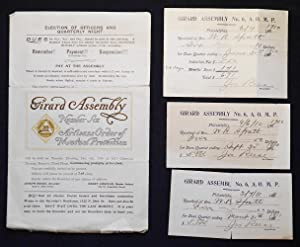 Dues Records of Membership of W. R. Spratt in the Girard Assembly Number Six, Artisans Order of M...