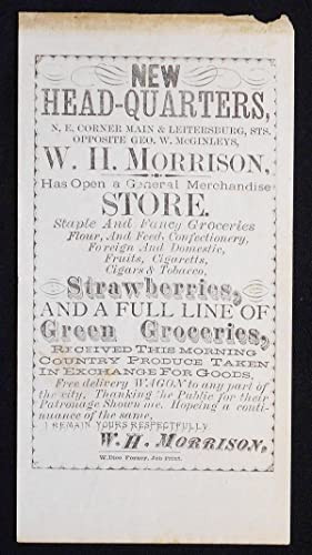 Small Broadside advertising the New Headquarters of W. H. Morrison's General Store in Waynesboro, Pa