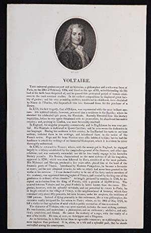 Voltaire [broadside with engraved portrait]