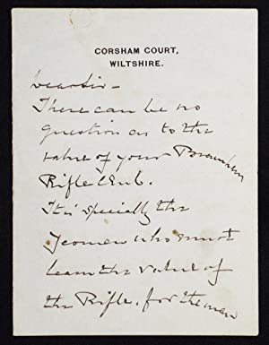 Autograph letter signed about the Burnham Rifle Club