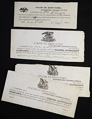 4 enlistment slips for the Ulster Artillery, Sugerties, Ulster County, N.Y.