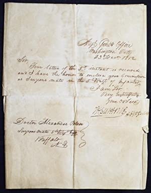 Commission from Adjutant General Thomas H. Cushing for Doctor Alexander Blair as Surgeon's Mate w...