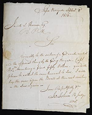 Autograph letter signed, to Jacob S. Thomson, Brigade Paymaster, regarding courtmartial of Captai...