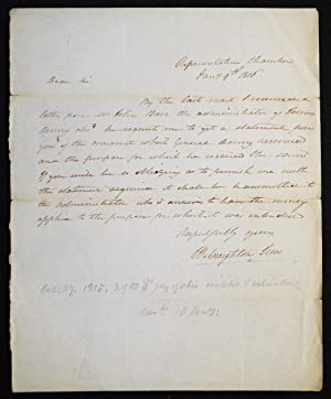 Autograph letter signed regarding the estate of Major General James Denny