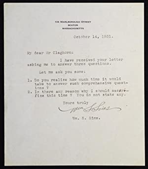 Typed letter signed by Admiral William S. Sims, 1931