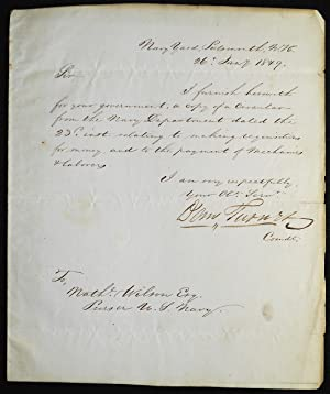Letter to Nathaniel Wilson, Purser U.S. Navy, regarding the payment of mechanics and laborers by ...