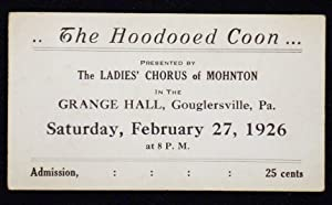 Ticket for performance of The Hoodooed Coon