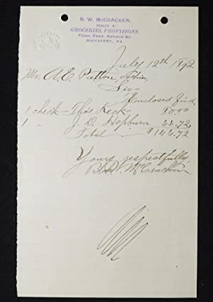 Handwritten note to cashier, A.E. Patton, from B. W. McCracken, Dealer in Groceries, Mahaffey, Pa