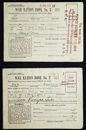 War Ration Books of Edwin G. Siner and Ann Pumyea Siner