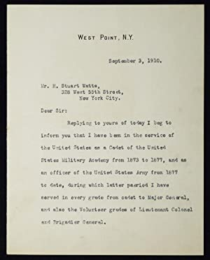 Typed, signed letter to H. Stuart Watts from Major General Thomas H. Barry while superintendent a...