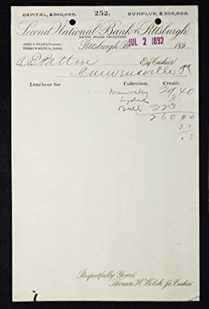 Second National Bank of Pittsburgh, United States Depository [letterhead] 1892 addressed to Alexa...