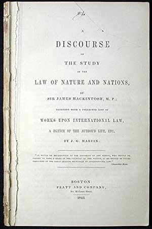 A Discourse on the Study of the Law of Nature and Nations: Mackintosh, James