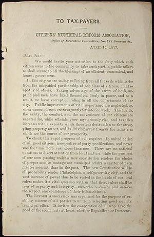 To Tax-Payers [Philadelphia city election]: Lea, Henry C.