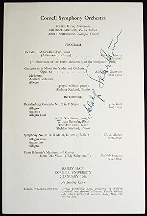 1963 Cornell Symphony Orchestra program signed by trumpet soloist Adolf Scherbaum