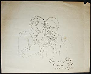 Edison Lab. Oct 10, 1933 [drawing of Thomas Edison and Henry Ford in Edison's lab]