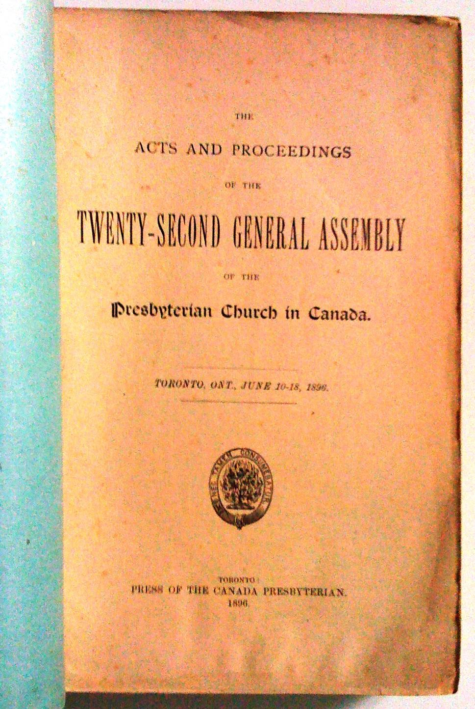 The Acts And Proceedings Of The Twenty Second General