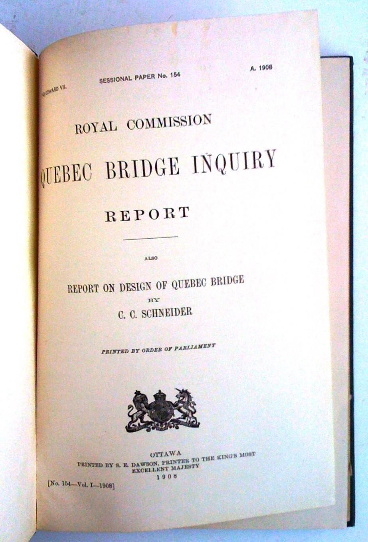 ROYAL COMMISSION QUEBEC BRIDGE INQUIRY