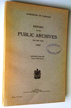 Report of the Department of Public Archives: Lanctôt, Gustave