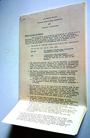 Arbitration Report Canadian Broadcasting Corporation and Producers' Association (Grève de 1959 à ...