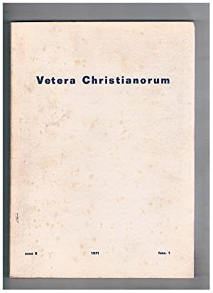 Vetera Christianorum semestrale anno 8° 1971 fasc.: QUACQUARELLI Antonio direttore.