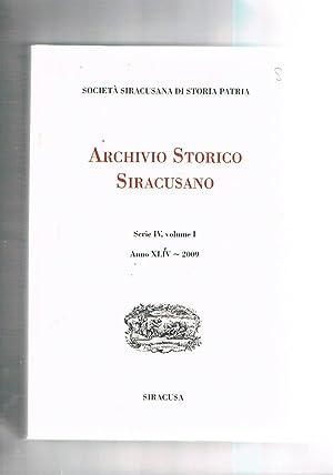 Archivio storico siracusano serie IV vol. I°: AA. VV.