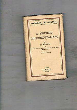 Il pensiero giuridico italiano. III. Bibliografia. Diritto: JANNACCONE C., VEDOVATO