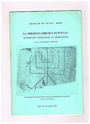 La presenza ebraica in Puglia. Testimoninaze archivistiche: JANNONE Damiana a