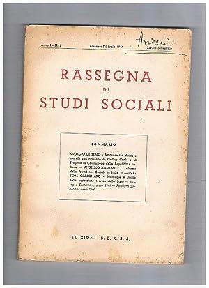 Rassegna di studi sociali anno I° n°: MUTTINELLI Ferruccio redattore