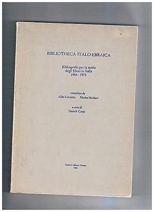 Bibliotheca Italo-Ebraica, bibliografia per la storia degli: LUZZATTO Aldo e