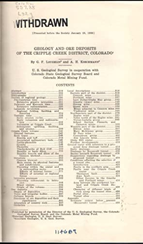 Geology and Ore Deposits of the Cripple Creek District. (Colorado Scientific Society Proceedings: ...