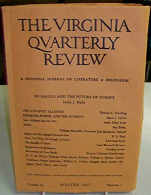 The Virginia Quarterly Review: A National Journal: Kohler, Charlotte (editor);