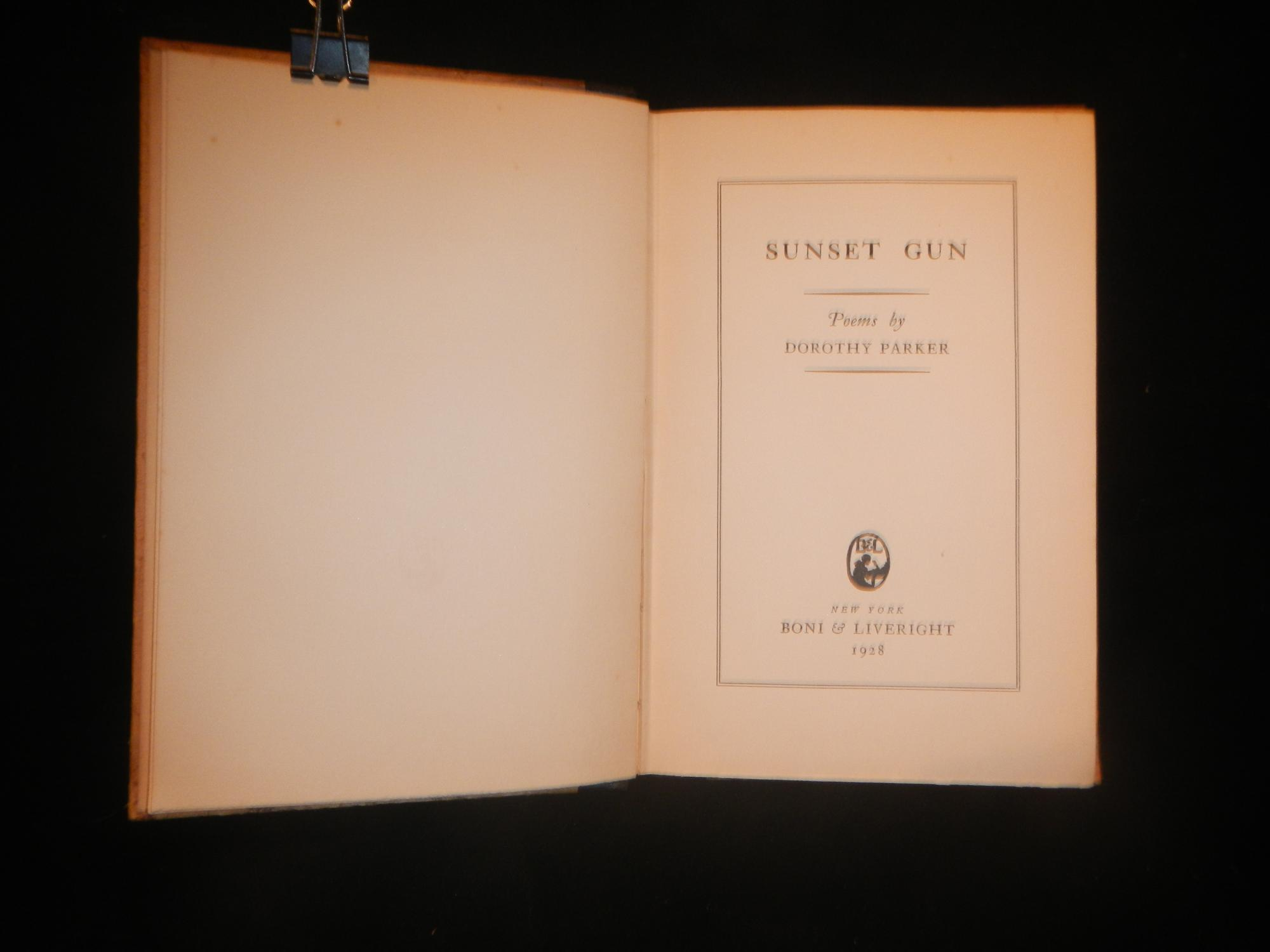 sunset gun by dorothy parker boni and liveright hardcover