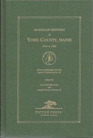 Marriage Returns of York County, Maine genealogyz: Frost, John Eldridge
