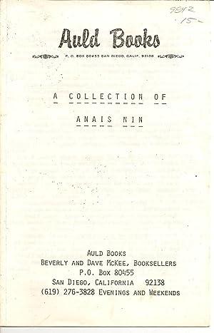 A Collection of Anais Nin Auld Books,: Nin, Anais