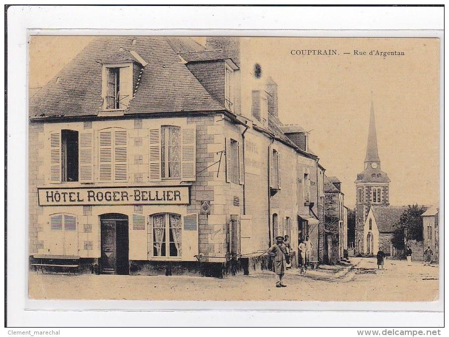 Carte postale ancienne COUPTRAIN   rue d argentan, hotel roger-bellier  (toillée ... 0367a9c1dd1b